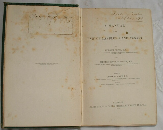 Law Book from office of Fisher & Fisher