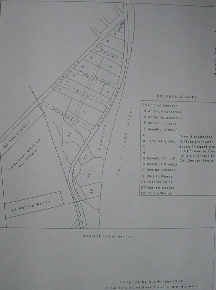 Map of the Heddon Grant in Fredericton, 1788
