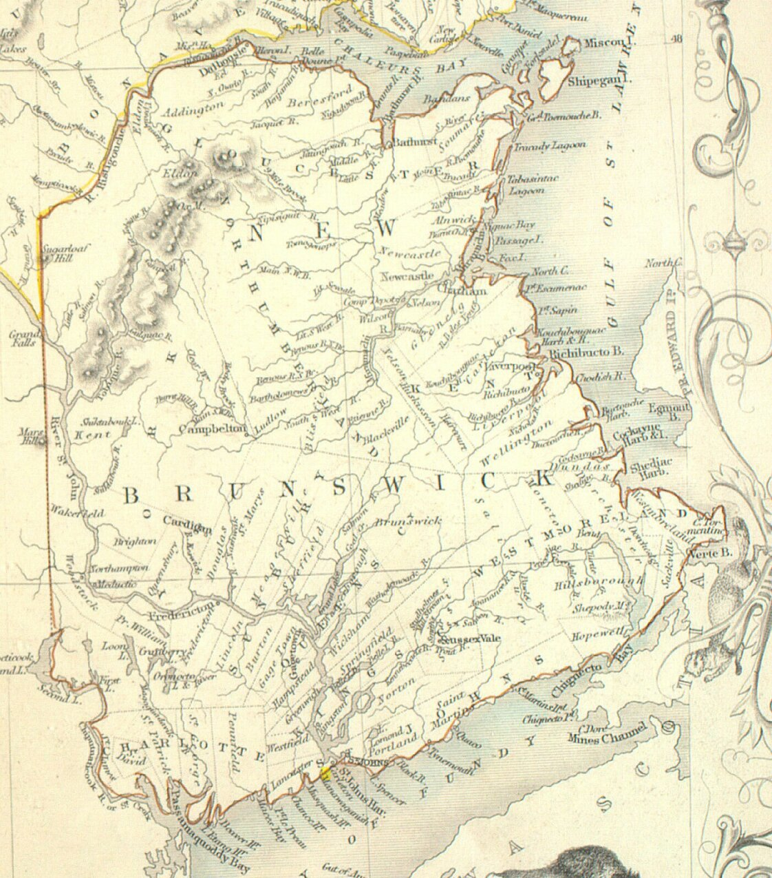 Maps Of Cork Settlement Cork Or Teetotal Settlement New Brunswick - Map of new brunswick