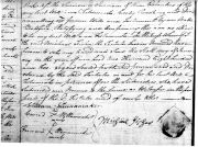 Signature of Michael Fisher 1720-1802 of Ramapo, New Jersey, on his last and will and testament.  Credit: New Jersey Archives